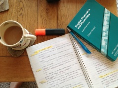 Vital study materials: stationary, text books and tea.